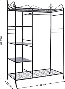 Songmics Wardrobe Clothes Cupboard Hanging Rail Storage Shelves with Metal Frame and Cover 108 x 170 x 58 cm RTG03H