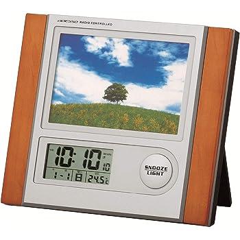 ADESSO(アデッソ) 目覚まし時計 フォトフレーム 電波時計 温度 日付表示 シルバー C-8297