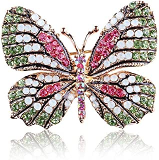 Collar Wedding Bridal Women Crystal Butterfly Brooch Pin Rhinestone | color - Green