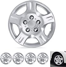 """BDK Wheel Guards – (4 Pack) Hubcaps for Car Accessories Wheel Covers Snap Clip-On Auto Tire Rim Replacement for 15 inch Wheels 15"""" Hub Caps (5 Spokes Textured)"""