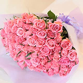 [ビズフラワー]【花束バラ お祝い 80本】BisesFlower 傘寿 ピンク 薔薇 家族 両親 記念日 お祝い 感謝 誕生日