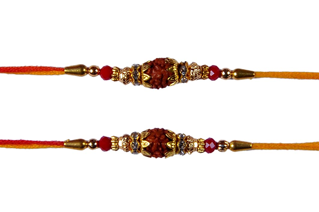 Set of Two Rakhi, Single Rudraksha Rakhi Rakhi for Brother, Raksha Bandha Gift for Your Brother with Daimond Ring