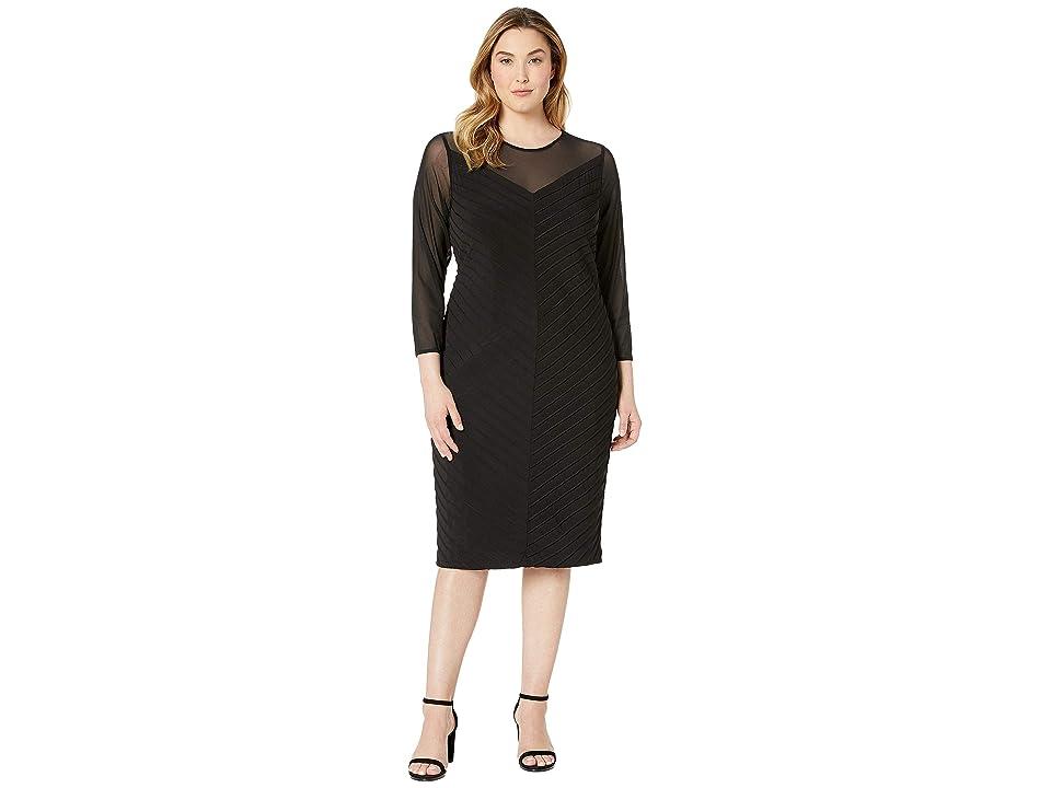 Adrianna Papell Plus Size Matte Jersey Sheath Dress with Illusion Mesh V-Neckline (Black) Women