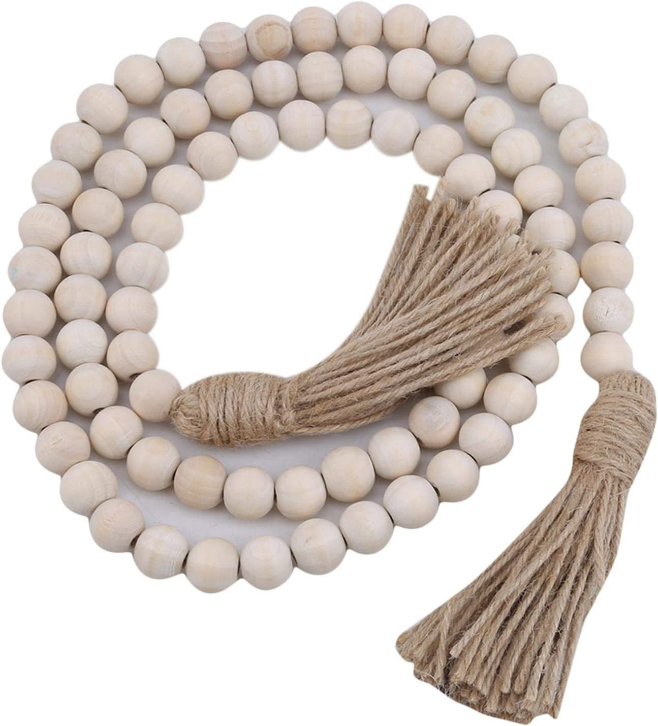 BoloLi Farmhouse Wooden Beads Translated Wall Hanging Tassel Ornaments Sale item with