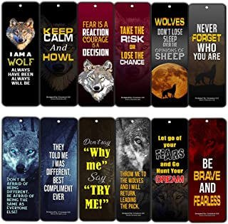 Creanoso Wolf Bookmarks (12-Pack) – Assorted Bookmark Set – Strong and Inspiring Inspirational Words Sayings – Premium Quality Bookmarkers - Party Supplies