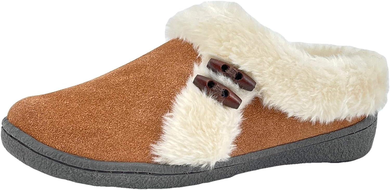 Clarks 1 year warranty Womens Suede Leather Slipper Miami Mall JMH2047 Plush Soft Fu - Faux