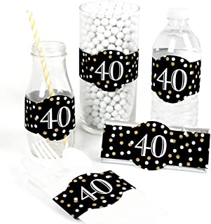 Adult 40th Birthday - Gold - DIY Party Supplies - Birthday Party DIY Wrapper Favors & Decorations - Set of 15