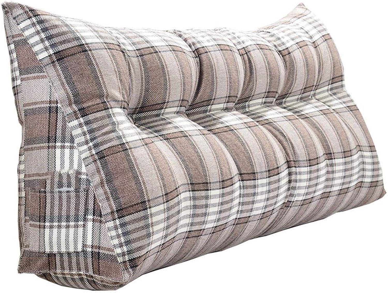 Bedside Cushion 180  20  50CM Soft Bag Triangle Double Backrest Waist Backrest Cushion Bed Large Cushion Long Pillow (color   Brown, Size   100  20  50CM)
