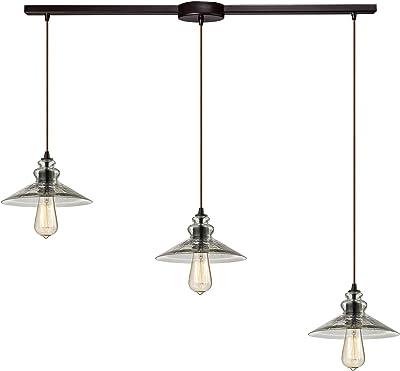 Elk Lighting 10332/3L Hammered Glass Collection 3 Light Chandelier, Oil Rubbed Bronze