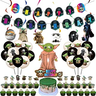 VWORK Baby Yoda Birthday Party Decorations, Star Wars Child Birthday Party Supplies, Include Banner, Balloons, Hanging Swi...