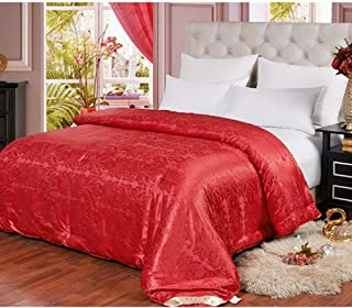 Hxiang Pure Mulberry Silk Comforter Silk Duvet Silk Quilt Silk Filled Comforter Doona Blanket Coverlet Bedspread for King Size Winter Season use (Queen, Red)