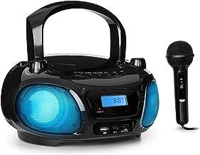 AUNA Roadie Sing - Radio CD, Chaîne Stéréo, Boombox, Lecteur CD, Port USB, MP3, Radio FM, Bluetooth 3.0, Eclairage LED, Fonctionnement sur Piles ou Secteur, Fonction Sing-A-Long - Noir