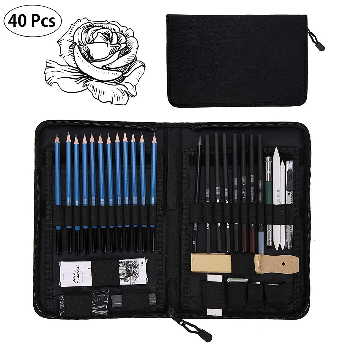 Yaegoo 40PCS Professional Art Sketching Pencils Set Drawing Pencils Set Charcoals Graphite Pencils Supplies with Sticks Tools and Kit Bag