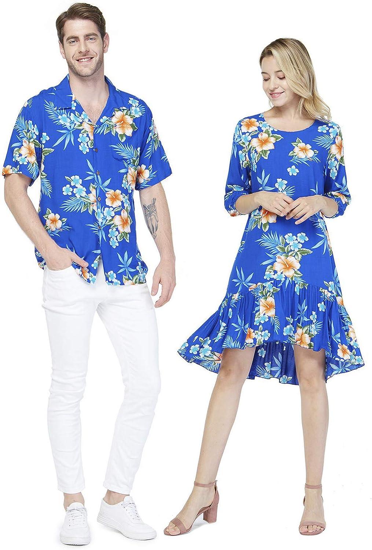 Couple Matching Hawaiian Luau Shirt 3/4 Sleeve Ruffle Dress in Hibiscus Blue