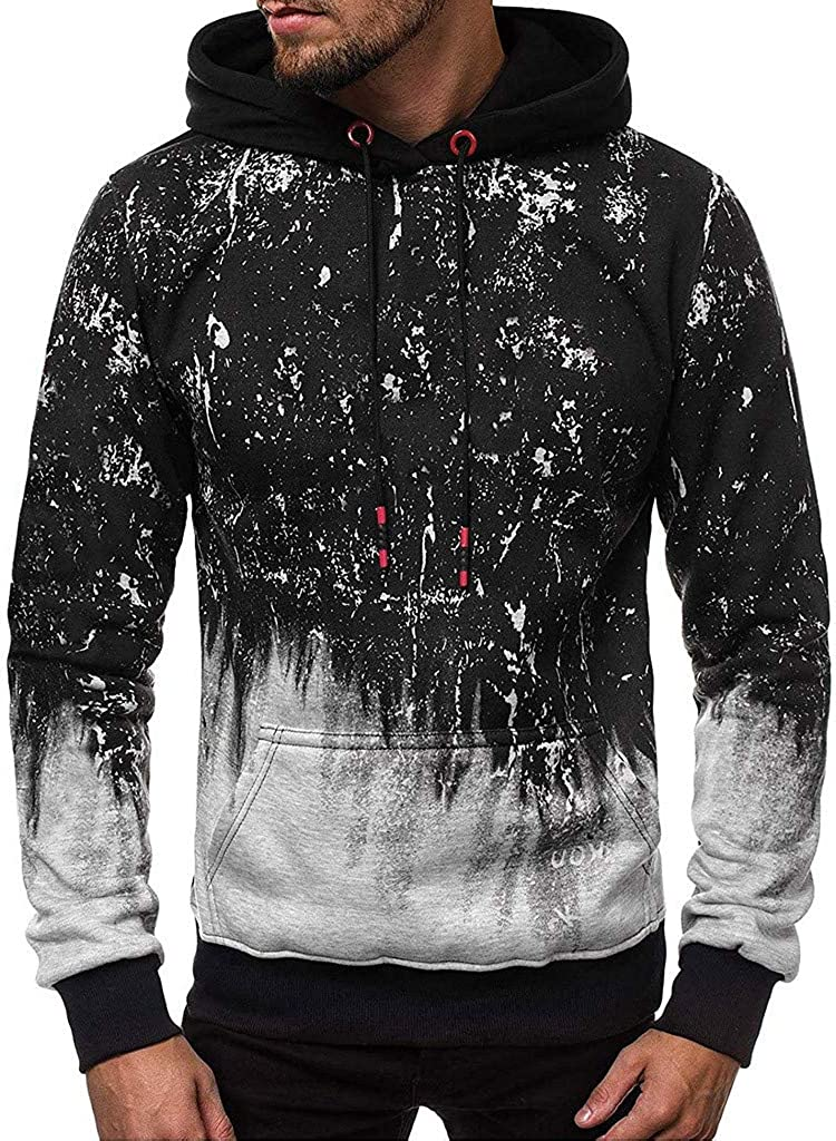Men's Hoodies Pullover, Mens Casual Long Sleeve Hoodies Athletic Graphic Sports Outwear Hooded Sweatshirts with Pocket