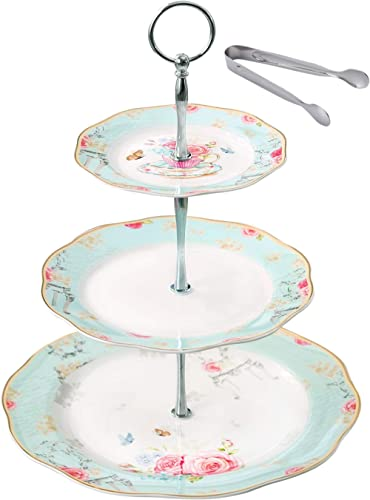 Sewing 2 tier small size ceramic cake stand ideal for 2-3 people to share