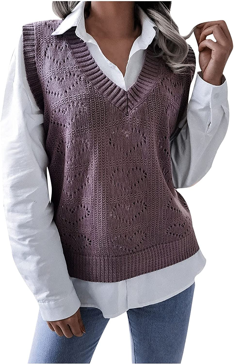 Womens Heart Shape Hollow Knitted Sweater Pullover Vest Casual Loose V Neck Solid Color Lightweight Blouse Tee Tops