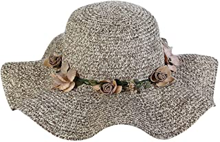 Quaanti Women's Wavy Brim Straw Woven Flower Band Summer Beach Floppy Sun Hat (Khaki)