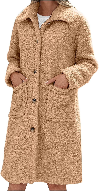Women's Fuzzy Fleece Lapel Open Front Long Cardigan Coat Faux Fur Warm Winter Outwear Jackets with Pockets Fall Winter Coat