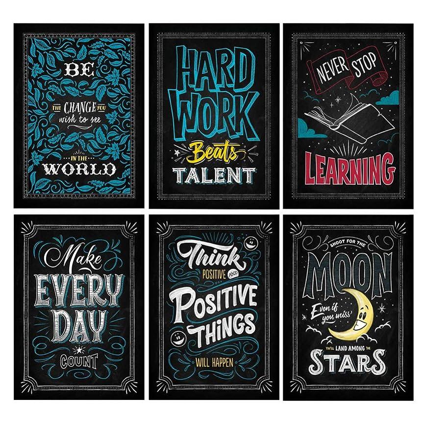 不利知恵火炎Hakka 6ピース動機付けのポスター黒板デザインインスピレーション引用符壁ポスター家の教室のオフィスの装飾