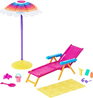 Barbie Loves The Ocean Beach-Themed Playset, with Volleyball Net & Accessories, Made from Recycled Plastics, Gift for 3 to...