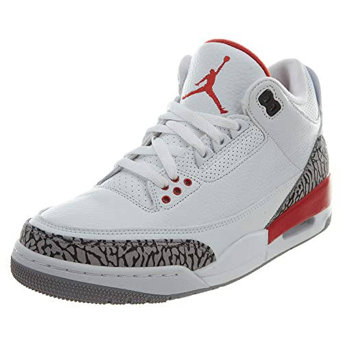 online store bc486 11fd8 Jordan Nike Mens Air 3 Retro Powder White Fire Red-Cement Grey Leather  Basketball