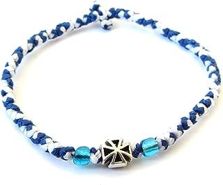 Iconsgr Handmade Christian Orthodox Komboskoini Chotki Prayer Rope Bracelet Blue & White - 3D