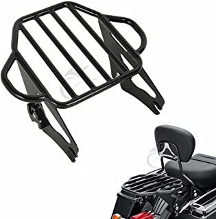 XFMT Gloss Black 2-Up Luggage Rack Mount For Harley Davidson Touring Models 2009-17
