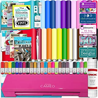 Silhouette Cameo 3 Glitter Pink Bluetooth Starter Bundle with 26 Oracal Vinyl Sheets, Transfer Paper, Guide, Class, 24 Sketch Pens