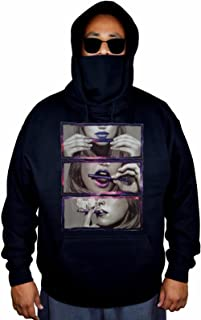 Men's Galaxy Hot Girl Rolling Blunt Black Mask Hoodie Sweater Black