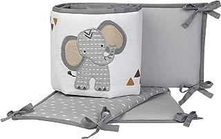 Lambs & Ivy Jungle Safari Gray/White Elephant 4-Piece Baby Crib Bumper Pads