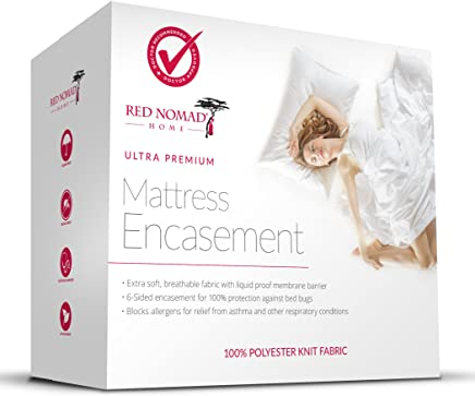 Red Nomad Waterproof Zippered Encasement Medical Grade Bed Bug Proof & Allergy Reduction Mattress Protector –