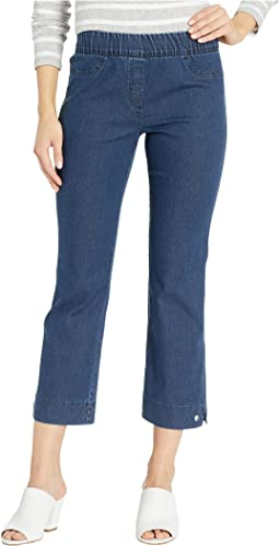 Stretch Denim Pull-On Pants with Grommet Detail in Blue