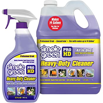 """Pro HD""""Purple"""" Concentrated Cleaner & Degreaser - Heavy Duty, Professional, Automotive, Restaurant, Grills, Ovens (32 oz Spray @Heavy Strength and 1 Gal Concentrate Refill)"""