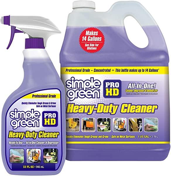 SIMPLE GREEN Pro HD Purple Concentrated Cleaner Degreaser Heavy Duty Professional Automotive Restaurant Kitchens Grills Ovens 32 Oz Spray And 1 Gal Refill Pack Of 2