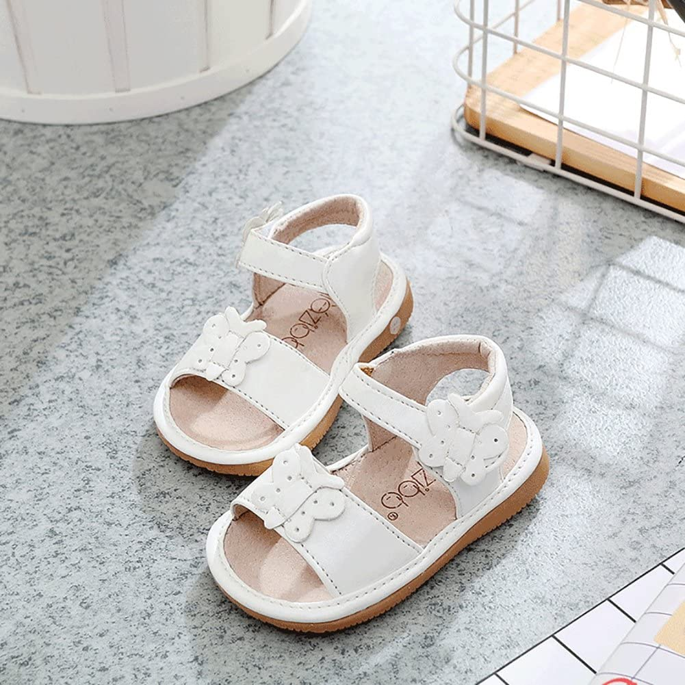 Removable Squeakers UBELLA Baby Girls Prewalker Sandals Squeaky Shoes Toddler Punch Strap Flats