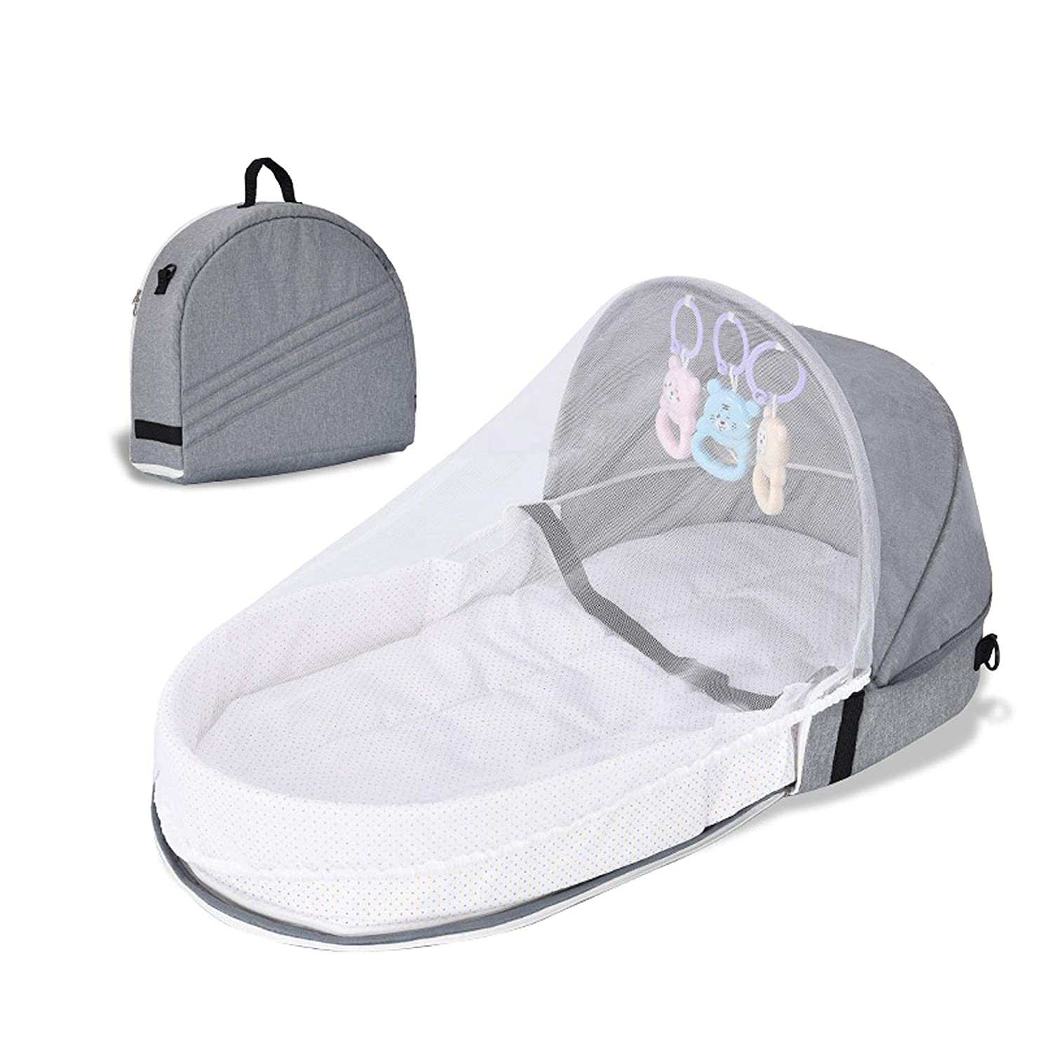 Tititek Baby Bed Travel Crib, Portable Toddler Bed Baby Crib with Mosquito Net, Foldable Bassinet Infant Sleeping Basket with Toys for Newborn Baby Mummy Bag (Grey)