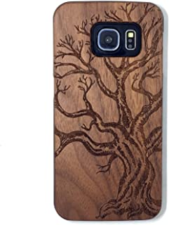 Samsung Galaxy S6 Case, Real Wood Non Slip Soft Wood Slim Bumper, Scratch Resistant Grip Ultra Light PC Snap Back Cover with Corner for Samsung Galaxy S6 G9200 (5.1 Inch) (Walnut Dead tree)