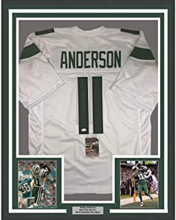 Framed Autographed/Signed Robby Anderson 33x42 New York 2019 White Football Jersey JSA COA