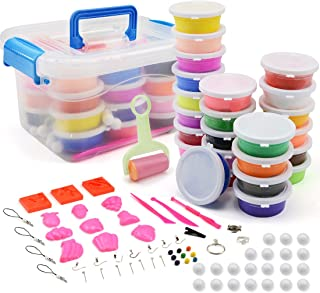 24 Colors Air Dry Soft Clay, Ultra Light Modeling Clay Set, Colorful DIY Slime Creative Craft Clay Kit, with Storage Box, Tools and Accessories