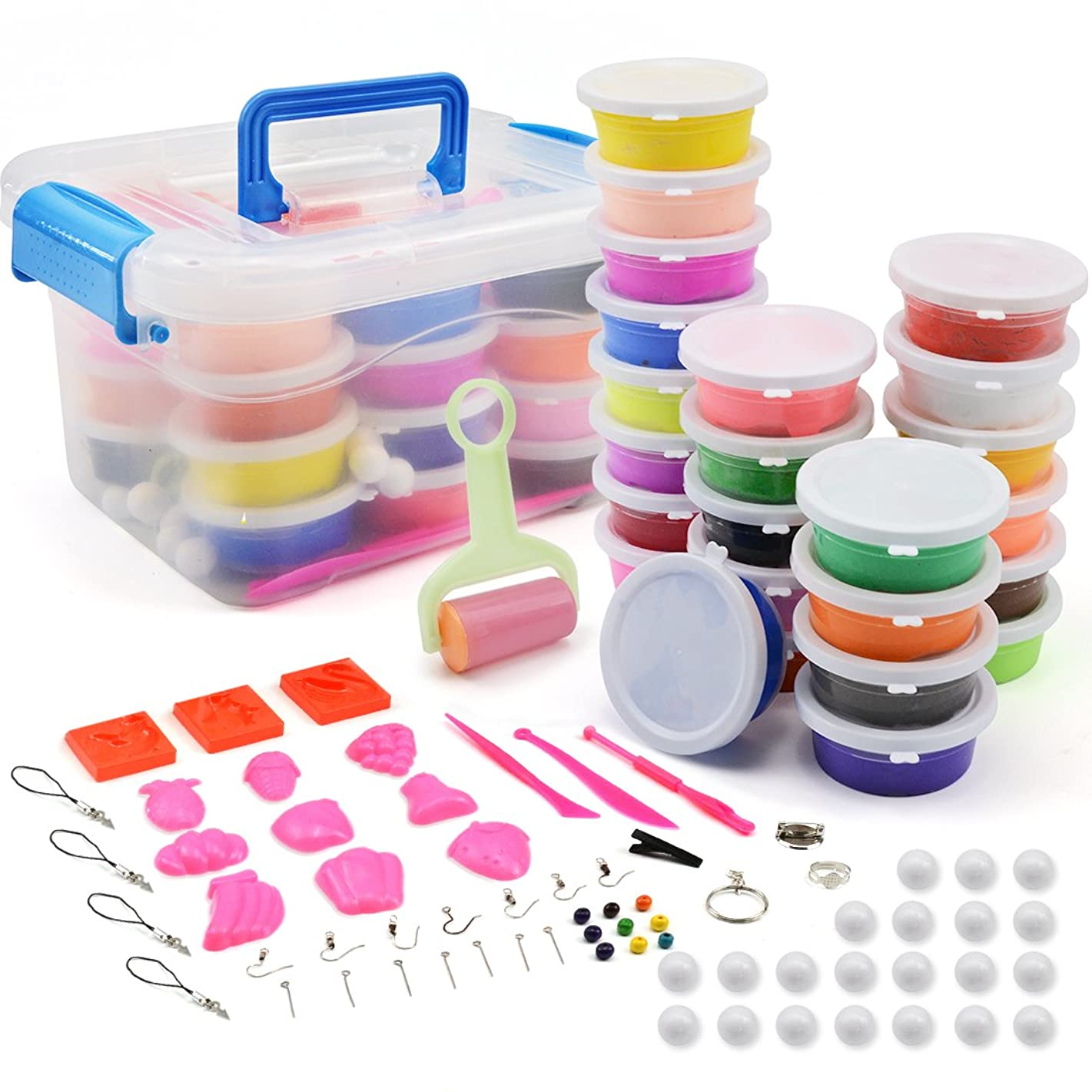 24 Colors Air Dry Soft Clay, Ultra Light Modeling Clay Set, Colorful DIY Slime Creative Craft Clay Kit, w/Storage Box, Tools and Accessories