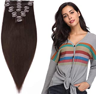 Hairro Clip in Human Hair Extensions Weft #2 Dark Brown Remy Human Hair Clip on for Women Full Head Long Straight Natural ...