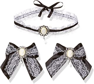 Leg Avenue Cameo Choker & Hair Bows (2 Piece), One Size, Black/White