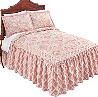 Collections Etc Allison Chenille Ivory Tufted Trellis Pattern Bedspread - Seasonal Bedding, Blush, King