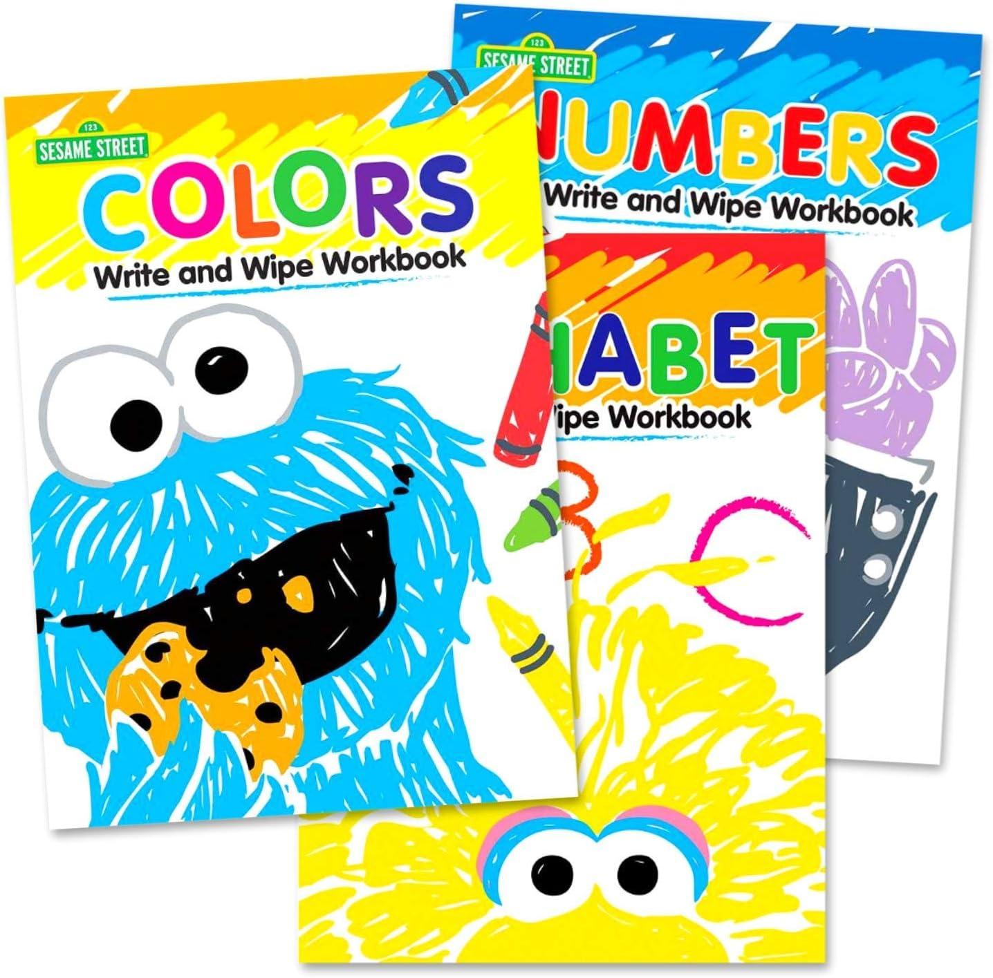 Set of 3 Sesame Street half Write Wipe Alphabet and Max 68% OFF Numbe Workbooks
