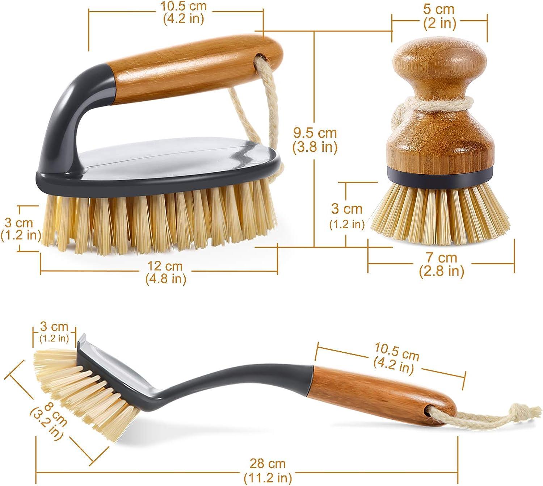 Buy Mastertop 9PCS Durable Bamboo Brush Set with Dish Brush Pan ...