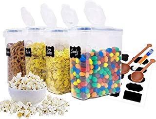 Cereal Container Storage Set - 4 Large Food Storage Containers Airtight Dry Plastic Dispenser with Free Labels Paint Pen Measuring Spoon (16.9 Cup 135.2oz)