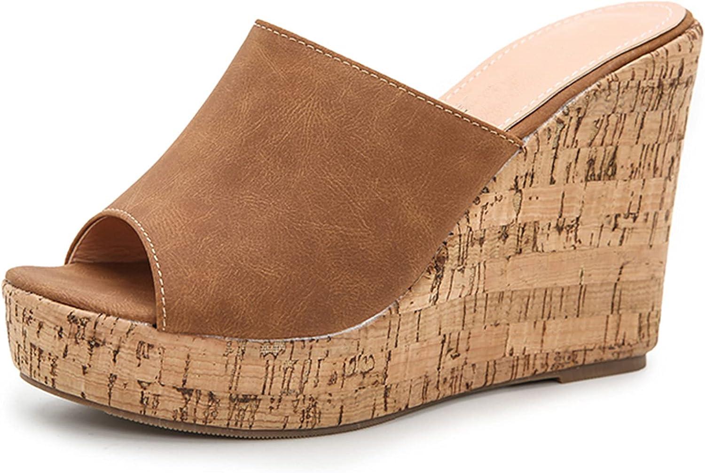femflame Women's Summer Wedge Platform Sandals Open Toe Cross Strap Sandals OutdoorSlip on High Heel Slippers