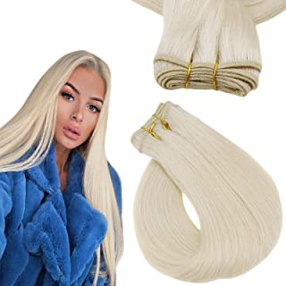 Easyouth Sew in Blonde Hair Extensions Human Hair Color Platinum Blonde Weft Hair Extensions Bundles Hair 12Inch 70g Strai...