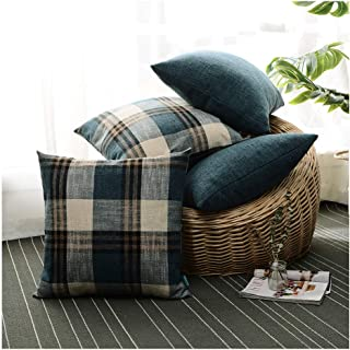 hpuk Set of 4 Linen Look Plaid Throw Pillow Cover Decorative Cushion Pillowcase for Bed Sofa Couch Car, 17